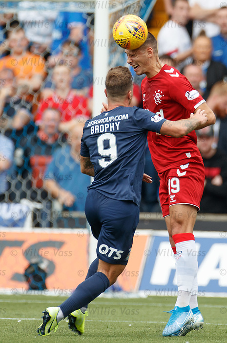 04.08.2019 Kilmarnock v Rangers: Nikola Katic heads clear from Eamonn Brophy