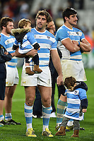 Juan Martin Fernandez Lobbe of Argentina with his kids after the match. Rugby World Cup Bronze Final between South Africa and Argentina on October 30, 2015 at The Stadium, Queen Elizabeth Olympic Park in London, England. Photo by: Patrick Khachfe / Onside Images
