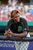 Dayton Dragons Mariel Bautista (17) before a Midwest League game against the Kane County Cougars on July 20, 2019 at Northwestern Medicine Field in Geneva, Illinois.  Dayton defeated Kane County 1-0.  (Mike Janes/Four Seam Images)