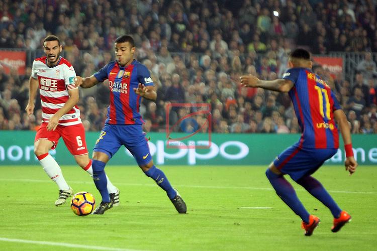 League Santander 2016/2017. Game: 10.<br /> FC Barcelona vs Granada CF: 1-0.<br /> Rafinha &amp; Neymar Jr.