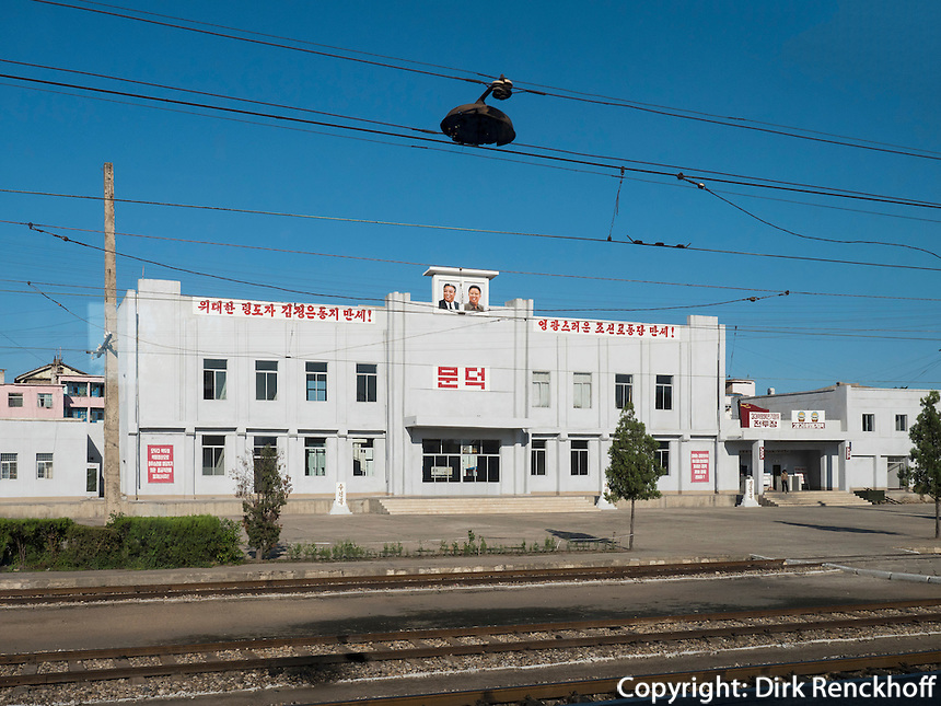An der Bahnstrecke Sinuiju - Pyonyang, Nordkorea, Asien<br /> at the rail route Sinuiju - Pyonyang, North Korea, Asia