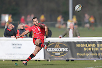 Sam Katz of Jersey Reds coverts a try from Kieran Hardy of Jersey Reds during the Greene King IPA Championship match between London Scottish Football Club and Jersey at Richmond Athletic Ground, Richmond, United Kingdom on 18 February 2017. Photo by David Horn / PRiME Media Images.