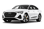 Stock pictures of low aggressive front three quarter view of 2020 Audi e-tron-Sportback S-Line 5 Door SUV Low Aggressive
