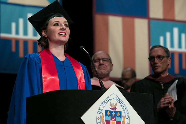 Emily A. Margevich sings the national anthem Saturday, June 10, 2017, during the DePaul University School of Music and The Theatre School commencement ceremony at the Rosemont Theatre in Rosemont, IL. (DePaul University/Jeff Carrion)