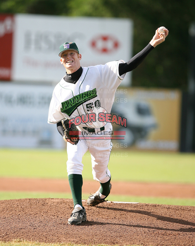 Kevin Hammons of the Jamestown Jammers, Class-A affiliate of the Florida Marlins, during New York-Penn League baseball action.  Photo by Mike Janes/Four Seam Images