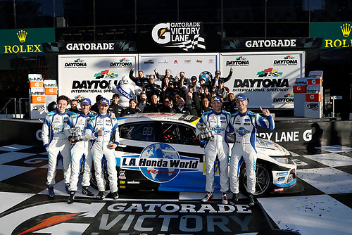 #37 LA Honda World Racing Honda Civic TCR, TCR: Tom O'Gorman, Mike LaMarra and team in Victory Lane, cp	pit stop, podium
