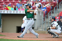 Clinton LumberKings Chris Mariscal (3) swings during the game against the Cedar Rapids Kernels at Veterans Memorial Stadium on April 16, 2016 in Cedar Rapids, Iowa.  Cedar Rapids won 7-0.  (Dennis Hubbard/Four Seam Images)