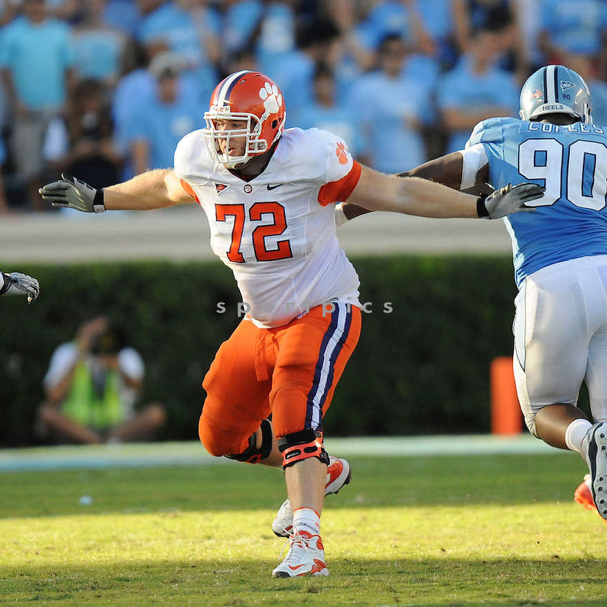 LANDON WALKER, of the Clemson Tigers, in action during the Clemson Tigers game against the North Carolina Tarheels at Kenan Stadium on October 09, 2010  in Chapel Hill, NC..North Carolina 21 beats Clemson 16.