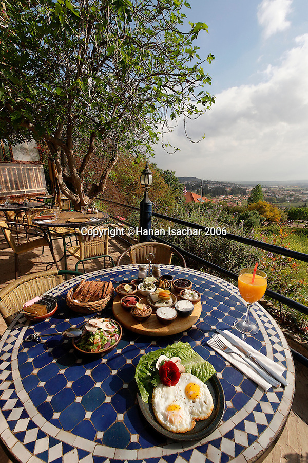 Israel, the Upper Galilee. Breakfasy at Pina Barosh guest house in Rosh Pina