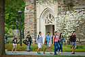 Students walk to and from class past Rubenstein Library through the Academic Quad on a beautiful Spring morning.