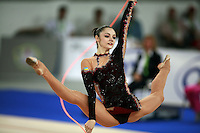 September 21, 2007; Patras, Greece;  Anna Bessonova of Ukraine split leaps with rope (frame 3) during All-Around final at 2007 World Championships Patras.  Anna won the AA to  help Ukraine to receive the 1st of 2 positions for the individual All-Around competition at Beijing 2008 Olympics.  Photo by Tom Theobald. ..Photo note: Selected image for 'daypic' on website..