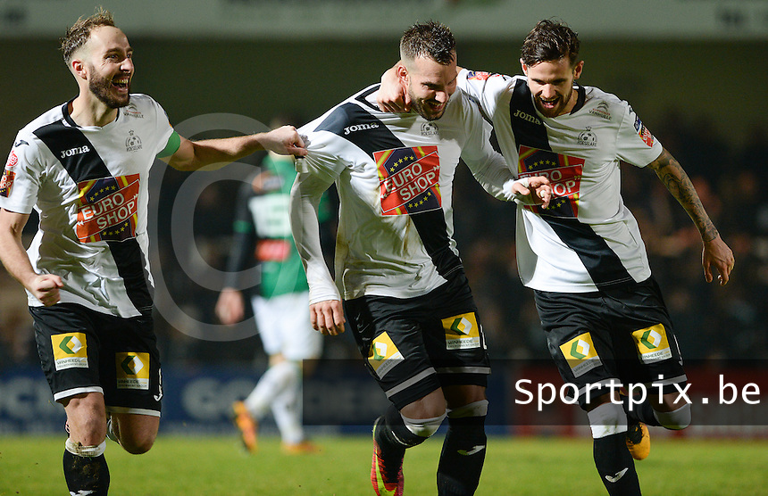 20161217 - ROESELARE , BELGIUM : Roeselare's Mathieu Cornet pictured celebrating his goal and the 3-1 lead for Roeselare with Thibault Van Acker (r) and Raphael Lecomte (left)  during the Proximus League match of D1B between Roeselare and Cercle Brugge, in Roeselare, on Saturday 17 December 2016, on the day 20 of the Belgian soccer championship, division 1B. . SPORTPIX.BE | DAVID CATRY