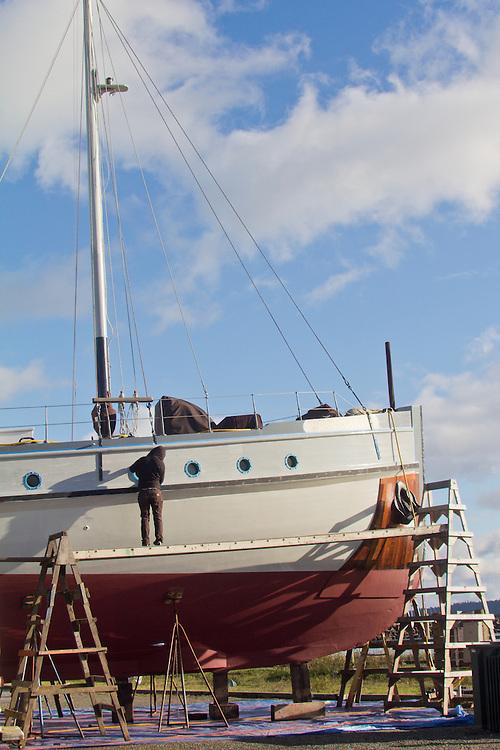Port Townsend, Shipwrights, passenger yacht, Westward, Port of Port Townsend, boatyard,  Jefferson County, Olympic Peninsula, Washington State, Pacific Northwest, USA,