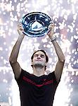ROTTERDAM - De Zwiter Roger Federer wint zondag de finale van het ABN Amro tennistoernooi van de Argentijn Juan Martin Del Potro . (6-1,6-4)
