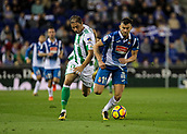 30th October 2017, Cornella-El Prat, Cornella de Llobregat, Barcelona, Spain; La Liga football, Espanyol versus Real Betis; Joaquin of Betis fouls Leo Baptistao of Espanyol as he cuts across his line