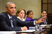 United States President Barack Obama speaks to the media, with Lisa Monaco, Homeland Security Advisor to President Obama, Susan Rice, National Security Advisor, and Tom Frieden, Director of the Centers for Disease Control and Prevention, looking on, during a meeting with his national security and public health teams concerning the government's Ebola response, in the Roosevelt Room of the White House, on November 18, 2014, in Washington, DC. President Obama called on Congress to approve $6.2 billion in emergency spending to fight Ebola in West Africa.  <br /> Credit: Drew Angerer / Pool via CNP
