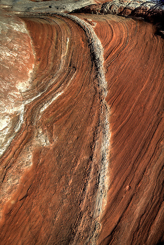 Distinctive lines and swirls formed through erosion make up part of the landscape at White Pocket in Northern Arizona