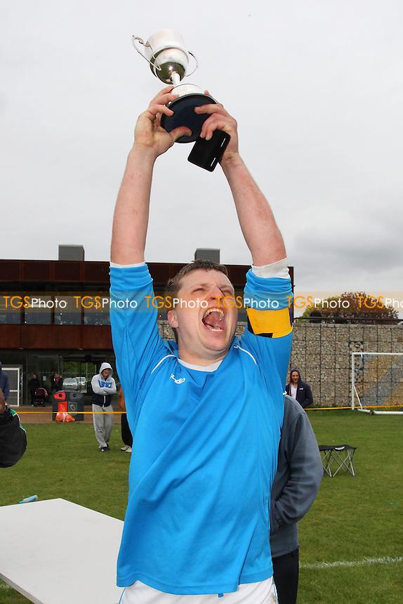 FC Status celebrate victory - FC Status vs Niva-Unistream - Hackney & Leyton Sunday League Hackney Gazette Cup Final Football at South Marsh, Hackney Marshes, London - 12/05/13 - MANDATORY CREDIT: Gavin Ellis/TGSPHOTO - Self billing applies where appropriate - 0845 094 6026 - contact@tgsphoto.co.uk - NO UNPAID USE.
