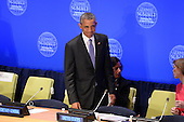 """United States President Barack Obama arrives at the """"Leader's Summit on Countering ISIL and Countering Violent Extremism"""" at the United Nations Headquarters, New York, New York, on September 29, 2015.  <br /> Credit: Anthony Behar / Pool via CNP"""
