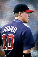 Chipper Jones of the Atlanta Braves participates in a Major League Baseball game at Dodger Stadium during the 1998 season in Los Angeles, California. (Larry Goren/Four Seam Images)