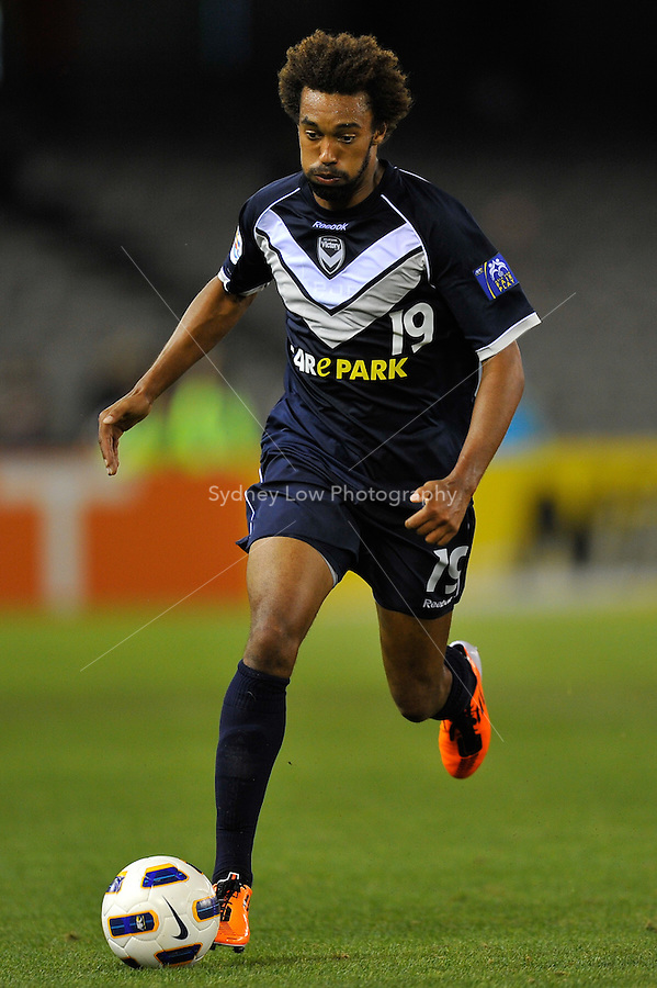 Isaka Cernak  of the Victory controls the ball during the AFC Champions League Group E match between the Melbourne Victory and Jeju United at Etihad Stadium in Melbourne, Australia.