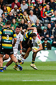 9th September 2017, Franklins Gardens, Northampton, England; Aviva Premiership Rugby, Northampton Saints versus Leicester Tigers; Jonny May of Leicester Tigers is tackled by Courtney Lawes of Northampton Saints