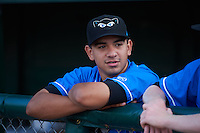 Hudson Valley Renegades pitcher Roel Ramirez (27) in the dugout before a game against the Vermont Lake Monsters on September 3, 2015 at Centennial Field in Burlington, Vermont.  Vermont defeated Hudson Valley 4-1.  (Mike Janes/Four Seam Images)