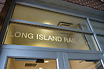 Long Island Rail Road written on windows above entrance to Merrick Train Station Office of Babylon branch, after MTA Metropolitan Transit Authority and Long Island Rail Road union talks deadlock, with potential LIRR strike looming just days ahead.