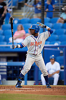 St. Lucie Mets center fielder John Mora (4) at bat during a game against the Dunedin Blue Jays on April 19, 2017 at Florida Auto Exchange Stadium in Dunedin, Florida.  Dunedin defeated St. Lucie 9-1.  (Mike Janes/Four Seam Images)