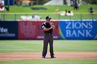 Second base umpire Lee Meyers during the game between the Salt Lake Bees and the Albuquerque Isotopes at Smith's Ballpark on April 22, 2018 in Salt Lake City, Utah. The Bees defeated the Isotopes 11-9. (Stephen Smith/Four Seam Images)