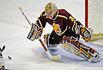 3 January 2009: Ferris State Bulldogs' goaltender Pat Nagle, a Sophomore from Bloomfield, MI, makes a save during the post-game shootout against the Colgate Raiders during the consolation game of the 2009 Catamount Cup Ice Hockey Tournament hosted by the University of Vermont at Gutterson Fieldhouse in Burlington, Vermont. The two teams battled to a 3-3 draw, with the Bulldogs winning a post-game shootout 2-1, thus placing them third in the tournament...Mandatory Photo Credit: Ed Wolfstein Photo