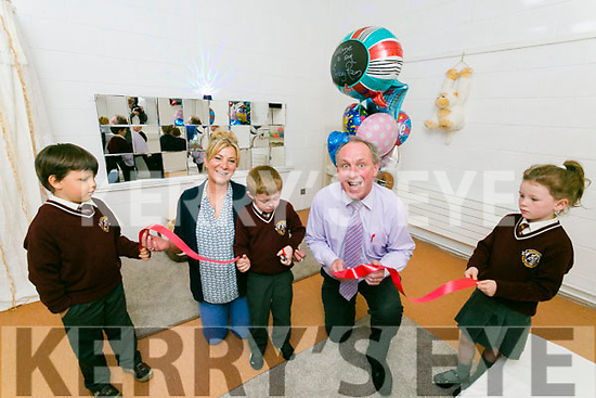 Holy Family School Opening of Sensory Room on Tuesday. Pictured Callum O'Leary cut the ribbon to officially open the room here with Franek Siekaniec, Ann Marie Allan, SNA, Principal Ed O'Brien and  Kyra Prendergast