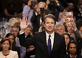 United States Supreme Court nominee Judge Brett Kavanaugh is sworn in before the Senate Judiciary Committee during his Supreme Court confirmation hearing in the Hart Senate Office Building on Capitol Hill September 4, 2018 in Washington, DC. Kavanaugh was nominated by President Donald Trump to fill the vacancy on the court left by retiring Associate Justice Anthony Kennedy. <br /> Credit: Chip Somodevilla / Pool via CNP