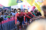 Trek-Segafredo at the Team Presentation in Alghero, Sardinia for the 100th edition of the Giro d'Italia 2017, Sardinia, Italy. 4th May 2017.<br /> Picture: Eoin Clarke | Cyclefile<br /> <br /> <br /> All photos usage must carry mandatory copyright credit (&copy; Cyclefile | Eoin Clarke)