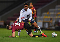Preston North End's Andre Green battles with Bradford City's Tyler French<br /> <br /> Photographer Dave Howarth/CameraSport<br /> <br /> The Carabao Cup First Round - Bradford City v Preston North End - Tuesday 13th August 2019 - Valley Parade - Bradford<br />  <br /> World Copyright © 2019 CameraSport. All rights reserved. 43 Linden Ave. Countesthorpe. Leicester. England. LE8 5PG - Tel: +44 (0) 116 277 4147 - admin@camerasport.com - www.camerasport.com