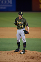 Tampa Tarpons relief pitcher Hobie Harris (14) during a Florida State League game against the Daytona Tortugas on May 18, 2019 at George M. Steinbrenner Field in Tampa, Florida.  Daytona defeated Tampa 7-6.  (Mike Janes/Four Seam Images)