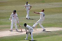Luke Fletcher in bowling action for Notts during Essex CCC vs Nottinghamshire CCC, Specsavers County Championship Division 1 Cricket at The Cloudfm County Ground on 23rd June 2018