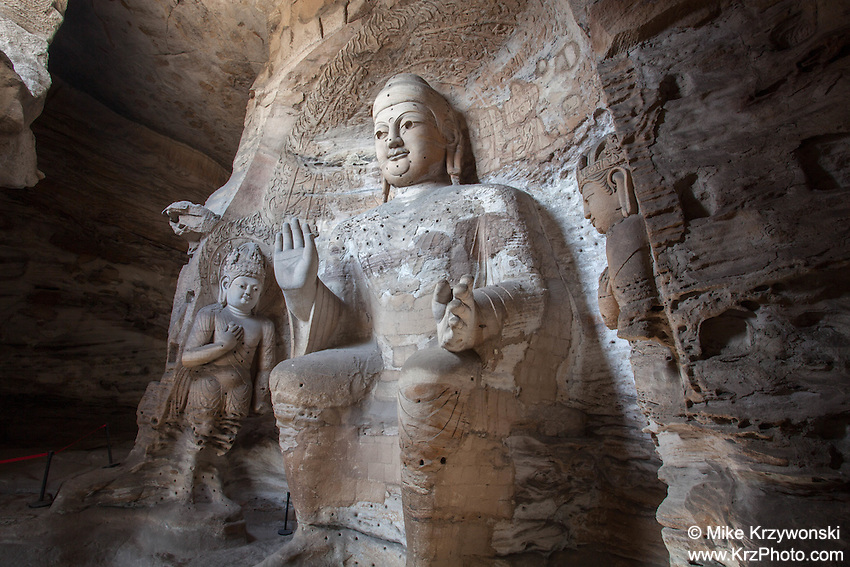 Large Buddha statue at the Yungang Grottoes, Datong, China