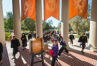 Taiko drums perform during Occidental College's 127th annual Convocation ceremony on August 28, 2013. (Photo by Marc Campos, Occidental College Photographer)