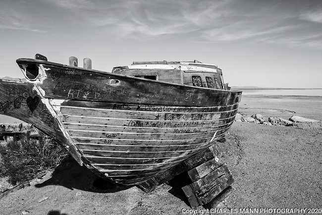 Bombay Beach, a township on the east shore of the salt laden Salton Sea  near El Centro, California, features apocalyptic scenes of abandoned ruins, desolate shorelines and dead fishes.