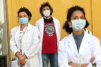 Rome May 27th 2020. Montecitorio. Demonstration of the young doctors, students in medicine and interns to protest against the 'economic recovery decree' the poor attention to the young white coats.<br /> Photo Samantha Zucchi Insidefoto