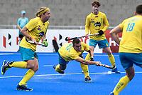 2nd February 2020; Sydney Olympic Park, Sydney, New South Wales, Australia; International FIH Field Hockey, Australia versus Great Britain; Jeremy Hayward of Australia takes a shot on goal