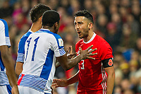 Neil Taylor of Wales has a disagreement with Armando Cooper of Panama during the International Friendly match between Wales and Panama at the Cardiff City Stadium, Cardiff, Wales on 14 November 2017. Photo by Mark Hawkins.