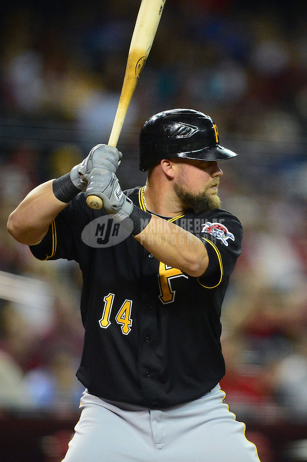 Apr. 17, 2012; Phoenix, AZ, USA; Pittsburgh Pirates infielder Casey McGehee during game against the Arizona Diamondbacks at Chase Field. Mandatory Credit: Mark J. Rebilas-