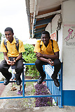JAMAICA, Port Antonio. Students in front of a school in the downtown area.