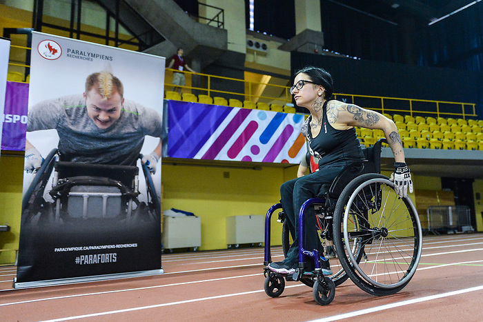 MONTREAL, QC - APRIL 29:  A participant takes part in a sprinting exercise during the 2017 Montreal Paralympian Search at Complexe sportif Claude-Robillard. Photo: Minas Panagiotakis/Canadian Paralympic Committee