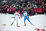 HOLMENKOLLEN, OSLO, NORWAY - March 16: (L-R) Daniel Richardsson of Sweden (SWE) and Giorgio di Centa of Italy (ITA) during the Men 50 km mass start, free technique, at the FIS Cross Country World Cup on March 16, 2013 in Oslo, Norway. (Photo by Dirk Markgraf)