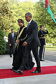 United States President Barack Obama (R) welcomes Sayyid Fahad bin Mahmood Al Said, Deputy Prime Minister for the Council of Ministers' Affairs of the Sultanate of Oman, to the White House May 13, 2015 in Washington, DC. Obama is hosting a summit of the Persian Gulf countries in Washington and at Camp David tomorrow. <br /> Credit: Chip Somodevilla / Pool via CNP