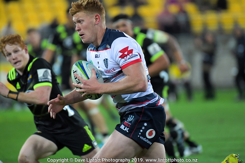 Campbell Magnay on attack during the Super Rugby match between the Hurricanes and Rebels at Westpac Stadium in Wellington, New Zealand on Saturday, 4 May 2019. Photo: Dave Lintott / lintottphoto.co.nz