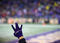 A fan flashes the W prior to kickoff.